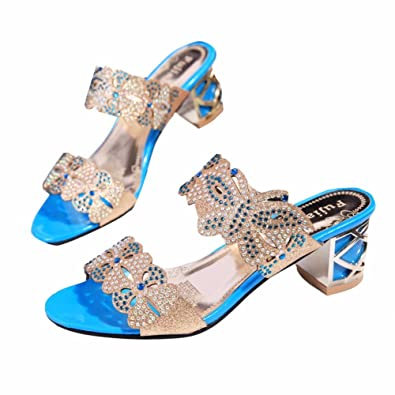 YUCH Kleidung Damen High Heel Sandaletten Retro Elegante Hochzeit Hausschuhe,Blau,35
