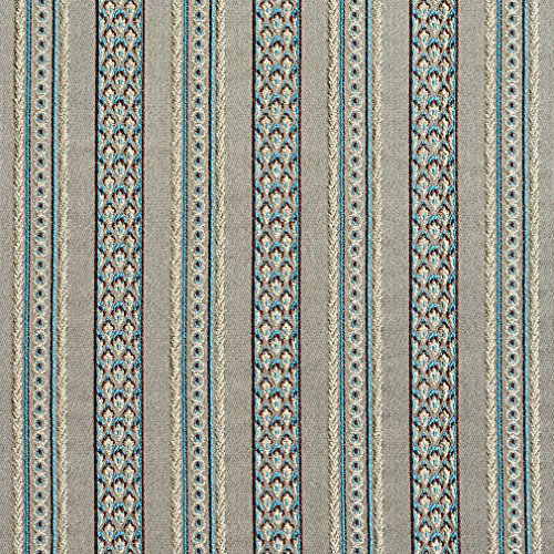 B0710E Grey, Blue and Bronze Striped Damask Brocade Upholstery Fabric By The Yard
