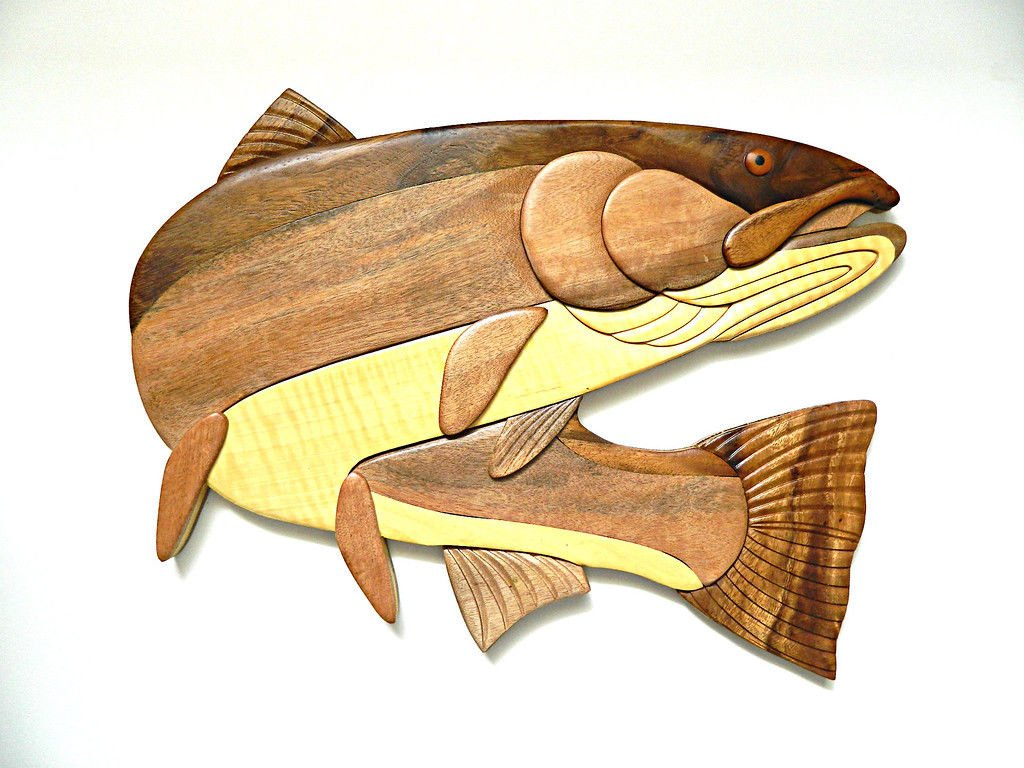 【送料無料(一部地域を除く)】 B0755WDCSFSteelheadトラウト魚釣りIntarsia木製壁アートホーム装飾プラークLodge B0755WDCSF, マツモトキヨシ アネックス:da34a442 --- ballyshannonshow.com