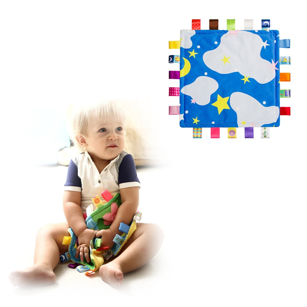 INCHANT Lovey Baby Tag Blue Cloud Security Blanket Bundle with Cute Monkey Colorful Toy Plush