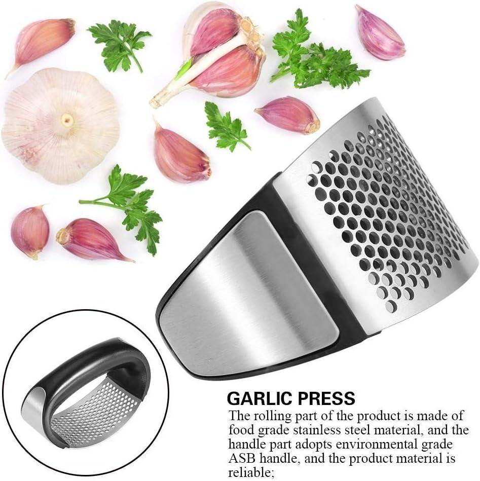 Garlic Pounder Kitchen Stainless Steel Curved Garlic Crusher Premium Garlic Press with Soft Easy-Squeeze Ergonomic Handle