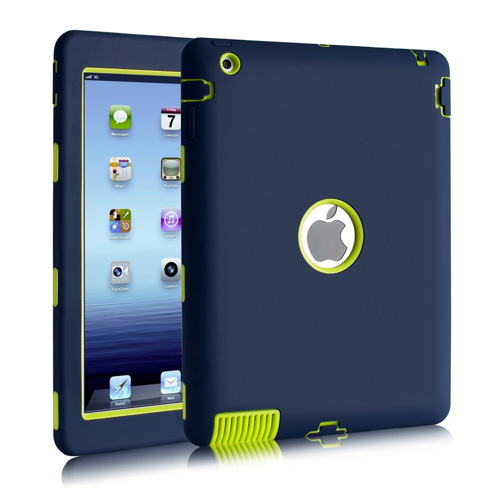 iPad 2 / 3 / 4 Case, Hocase Rugged Slim Shockproof Silicone Protective Case Cover for 9.7 iPad 2nd / 3rd / 4th Generation - Navy Blue / Fluorescent Green