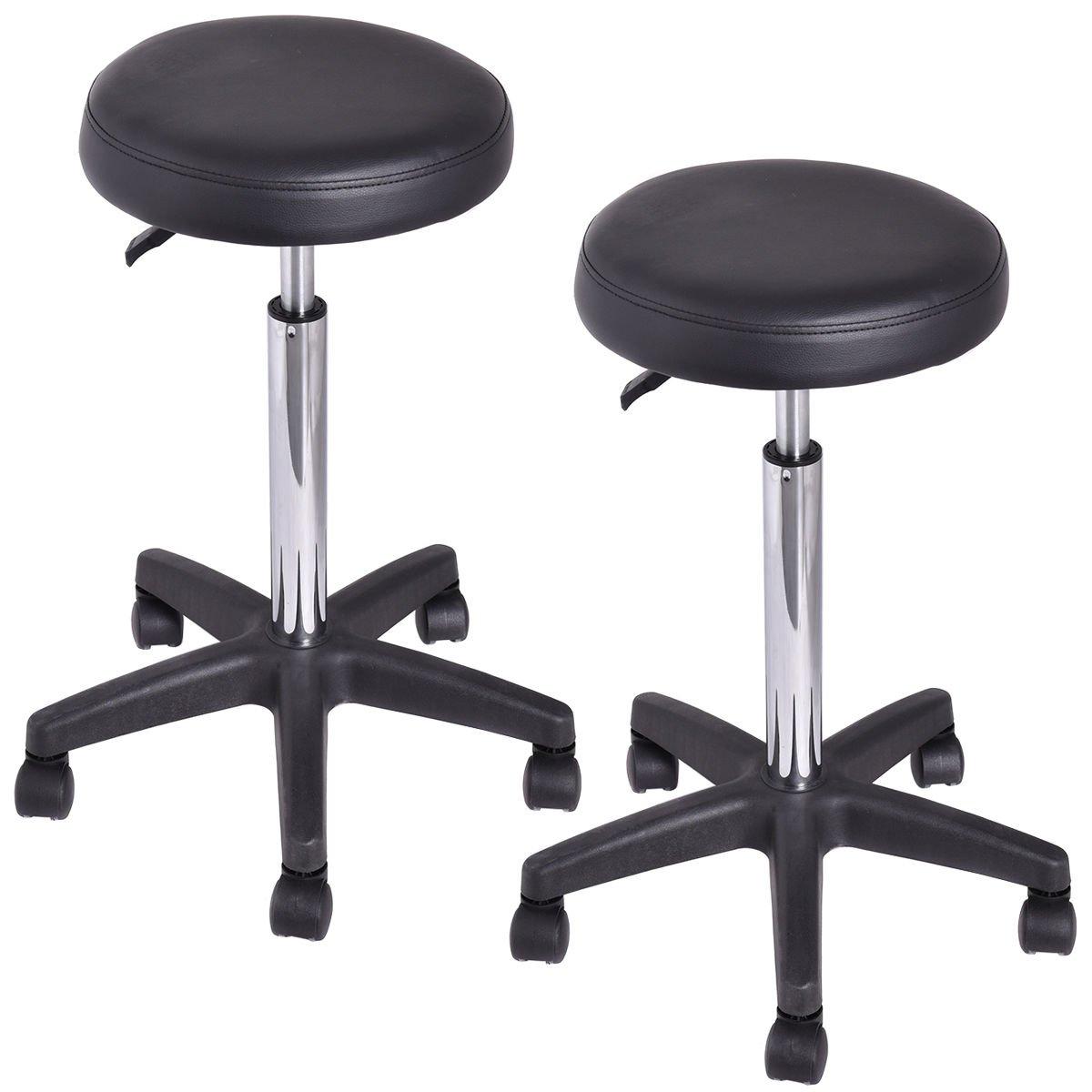 Good concept Set of 2 Tattoo Salon Stool Rolling Swivel Massage Height Adjust Facial Manicure Spa Adjustable Black Office Desk Hydraulic Chair