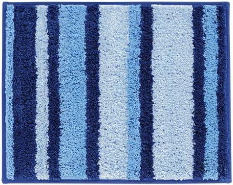 InterDesign Microfiber Stripz Bathroom Shower Accent Rug 21 x 17 Blue//Green
