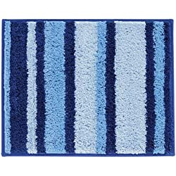 InterDesign Microfiber Stripz Bathroom Shower Accent Rug, 21 x 17, Surf Blue