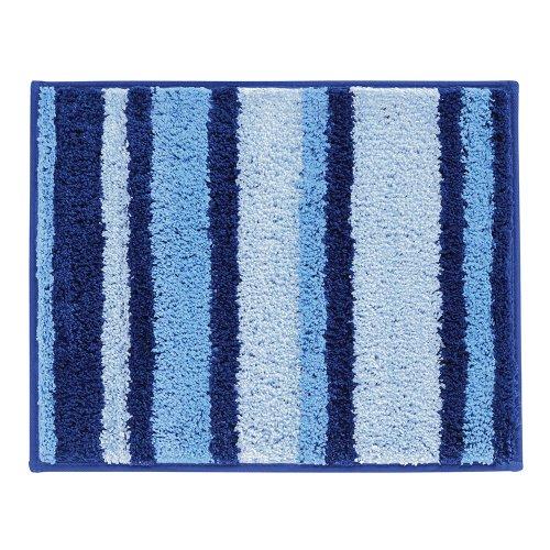InterDesign Microfiber Stripz Bathroom Shower Accent Rug, 21 x 17, Surf Blue