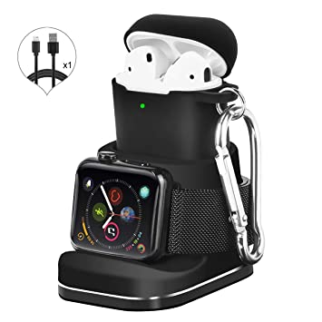 Kuvcco 2-in-1 Aluminum for Apple Watch Charger Stand,Desk Charging Dock for Airpods, Portable Charger Station for iWatch Series 4/3 /2/1&Airpods 2/1 ...