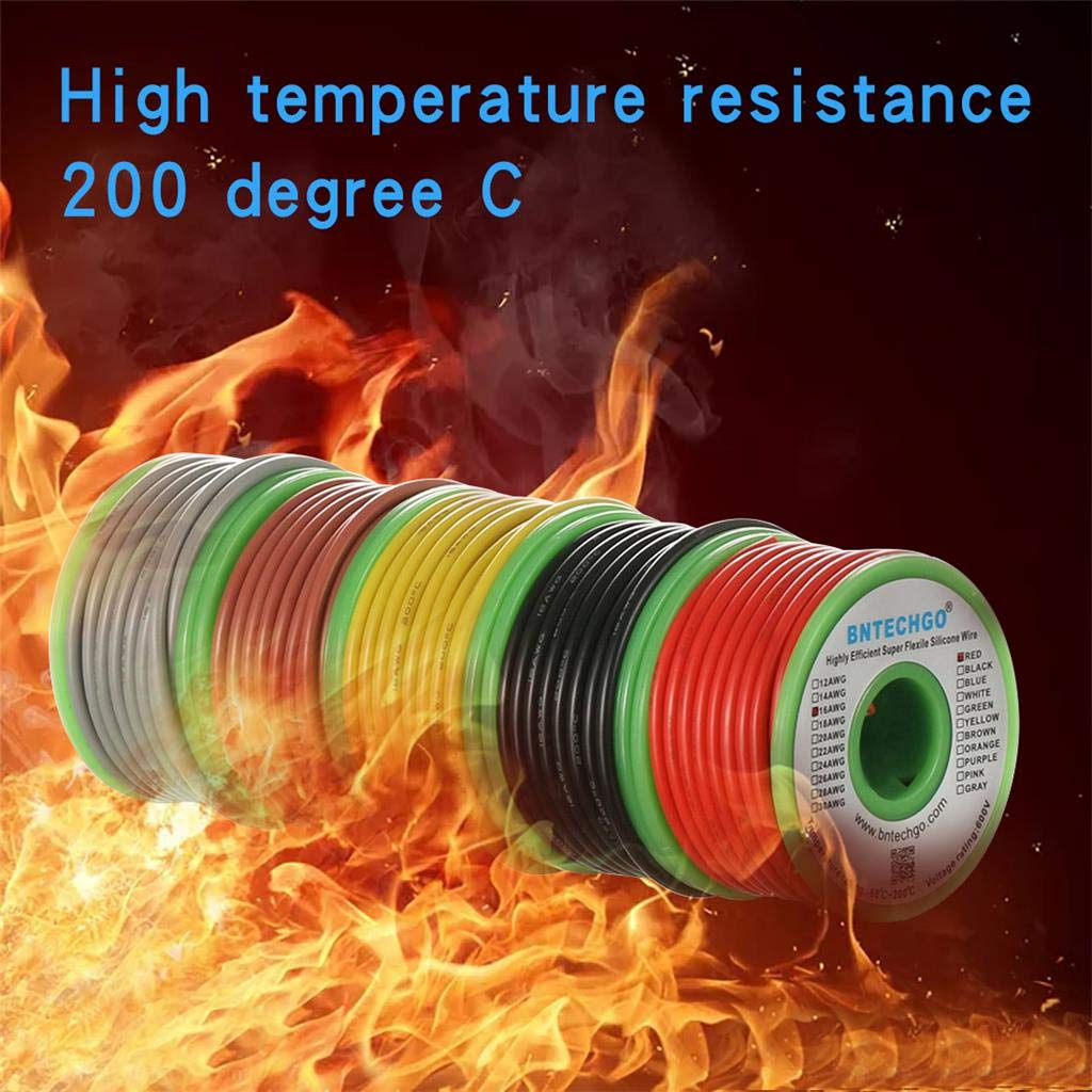BNTECHGO Ultra Flexible 16 Gauge Silicone Wire Spool 5 Color Red Black Yellow Brown Gray High Resistant 200 deg C 600V Electronic Wire 16 AWG Stranded Wire 252 Strands Tinned Copper Wire Hook Up bntechgo.com