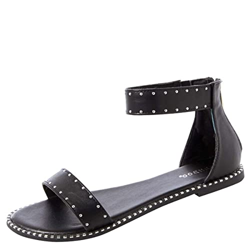 b0c04d7db1aa BAMBOO Womens Open Toe Metallic Studded Trim Ankle Strap Gladiator Flat Sandal  Shoe 7.5 Black