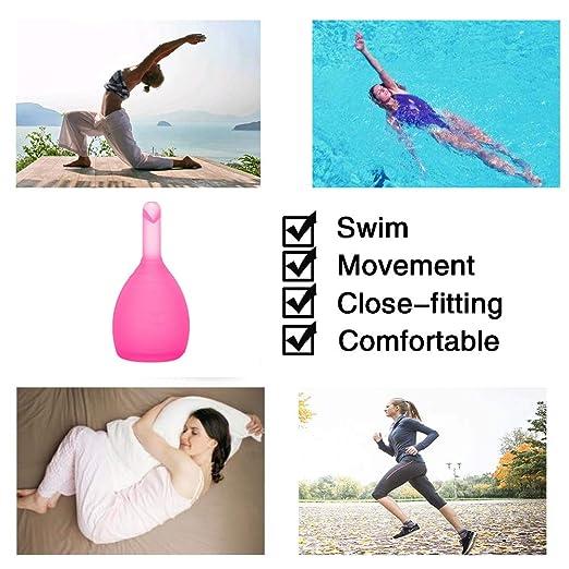 Amazon.com: Copa Menstrual, Segura y saludable, toalla sanitaria impermeable portátil, Taza Menstrual Azul púrpura, productos de salud de la Mujer (Pink, ...