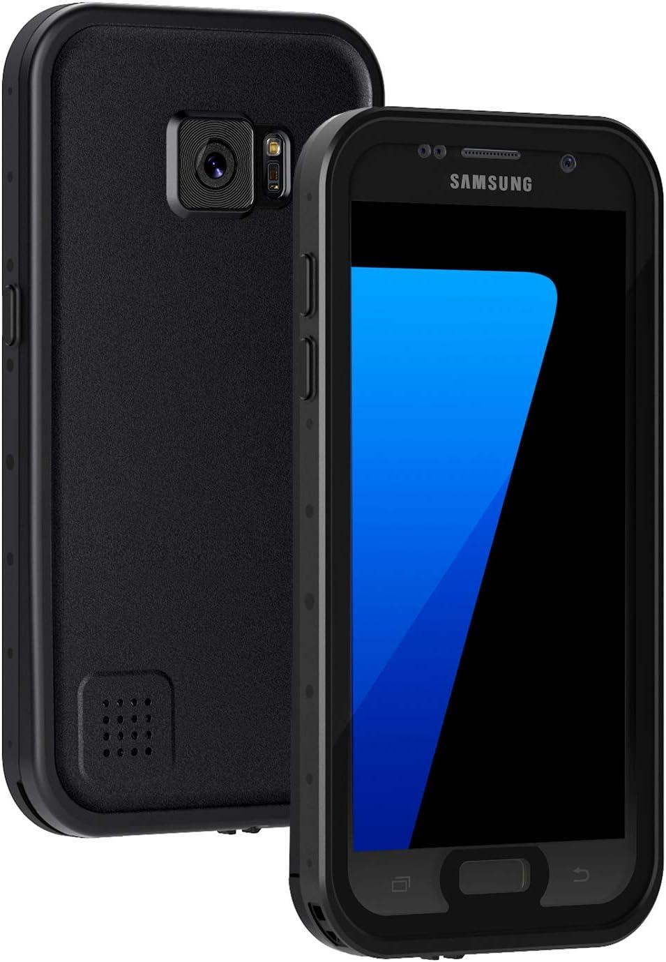 Lanhiem Funda Impermeable Samsung Galaxy S7,Carcasa Resistente Al Agua IP68 Certificado [Protección de 360 Grados],Carcasa para Galaxy S7 con Protector de Pantalla Incorporado,Negro