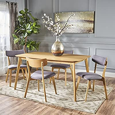 """Christopher Knight Home Alma Mid-Century Wood Dining Set with Fabric Chairs, 5-Pcs Set, Natural Oak / Dark Grey - Add the perfect amount of modern to your dining room space. With matching wood finishes and contemporary styling, this set is a must have. The mid-century feel comes to life with both the chairs and the legs of the table. Featuring the ideal amount of modern touches, this set is sure to both please and satisfy in every way. Includes: Four (4) Dining Chairs and One (1) Table Chair Dimensions: 19.50""""D x 19.50""""W x 31.50""""H - kitchen-dining-room-furniture, kitchen-dining-room, dining-sets - 613FkaRpu8L. SS400  -"""