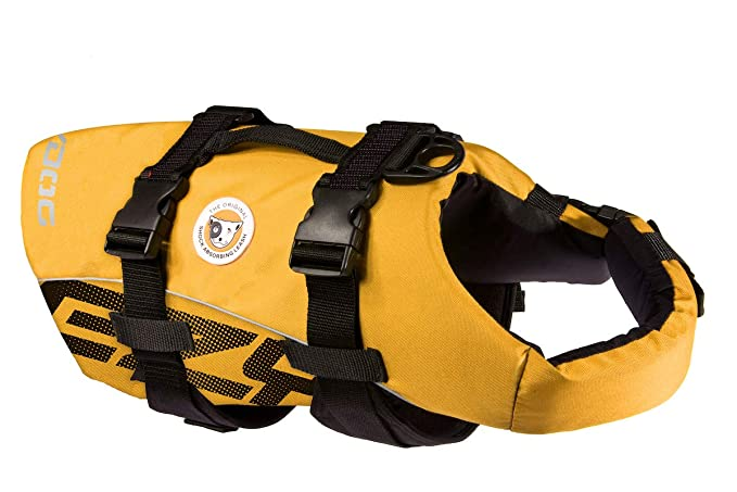 EzyDog Premium Doggy Flotation Device (DFD) - Adjustable Dog Life Jacket Preserver with Reflective Trim - Durable Grab Handle for Safety and Protection - 50% More Flotation Material (Large, Yellow) best dog life vest