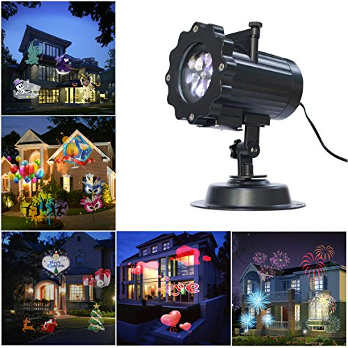 Price comparison product image Halloween Projector Lamp, LAFEINA 16 Patterns Birthday Christmas Projection Light 16 Replaceable Lens Auto Moving Landscape Spotlights for Xmas Halloween Thanksgiving Wedding Party Garden Decoration