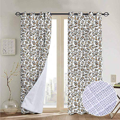 fengruiyanjing Personalized Home Decor Drapes Living Room Curtains, Clock, Retro Style Hourglass Motif (Set of 2 Panels)