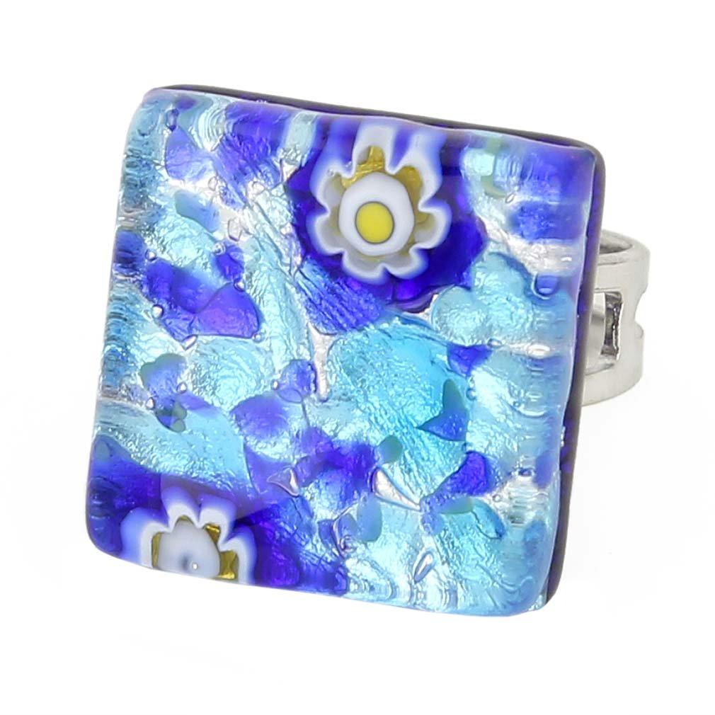 GlassOfVenice Murano Glass Venetian Reflections Square Adjustable Ring - Aqua Blue