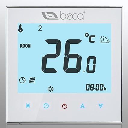 Termostato Control de la caldera, BECA Interruptor Pantalla táctil LCD 3A Calentador de agua /