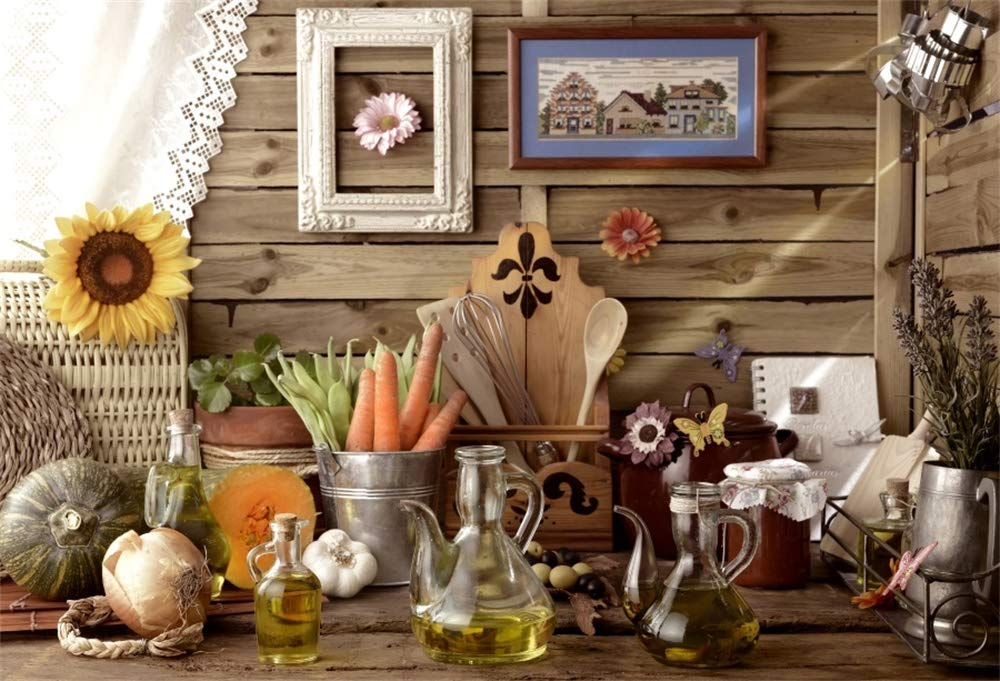 AOFOTO 8x6ft Western Kitchen Backdrop Glass Oil Bottles Onion Pumpkins Carrots Metal Bucket Photo Frame Bamboo Organizer Spoon Sunflowers Wooden Wall Table Photography Background Photo Studio Prop