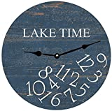Whatever Lake Time Wall Clock Decorative Round Novelty Printed Wood Clock – 12 inch For Sale