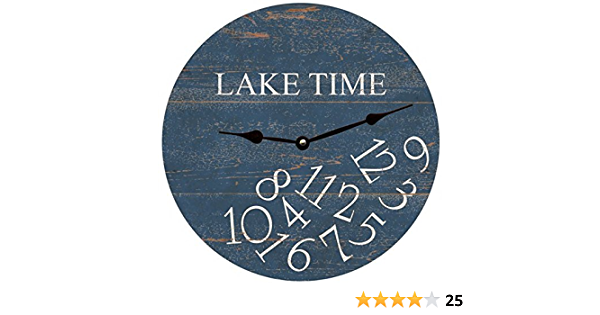 Whatever Lake Time Wall Clock Decorative Round Novelty Printed Wood Clock 12 Inch Home Kitchen Amazon Com