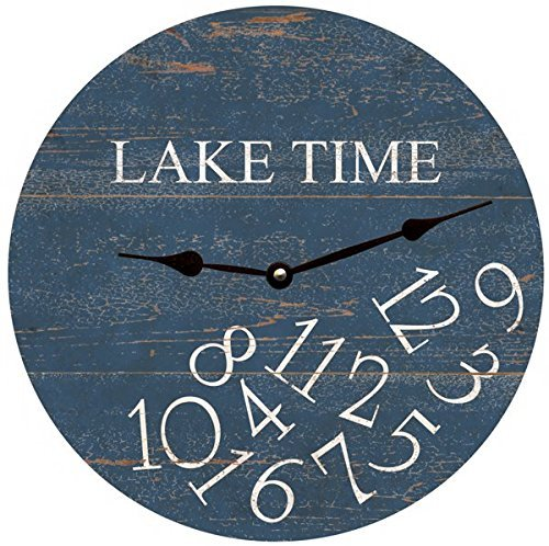 Whatever Lake Time Wall Clock Decorative Round Novelty Printed Wood Clock - 12 inch