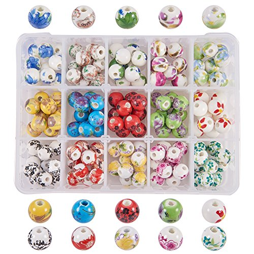 (PandaHall Elite 150 Pcs Traditional Chinese Theme 10mm Flower Ceramic Beads Handmade Printed Round Porcelain China Beads 15 Styles for Jewelry Making)