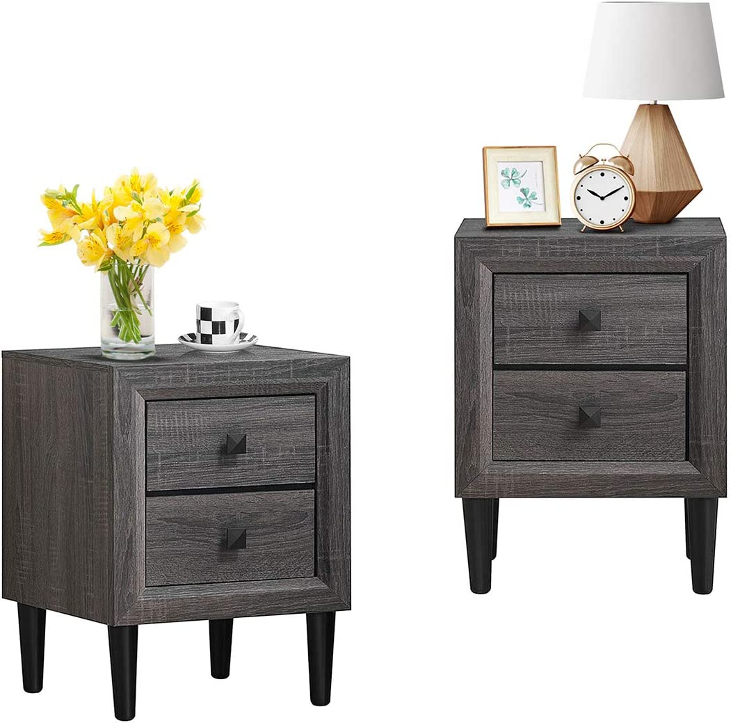 Giantex Nightstand Wooden W Two Storage Drawers and Handles,Waterproof Material for Bedroom Living Room End Table 2