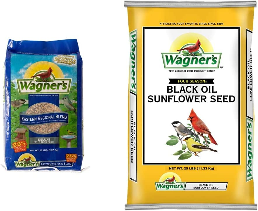 Wagner's 62004 Eastern Regional Wild Bird Food, 20-Pound Bag & 76027 Black Oil Sunflower Wild Bird Food, 25-Pound Bag
