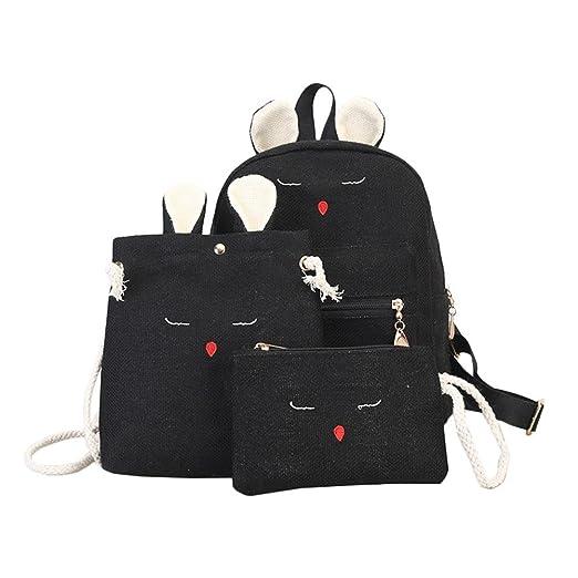 8d4530045227 Amazon.com | AFfeco 3pcs Linen Backpack Rabbit Crossbody Bag Clutch ...