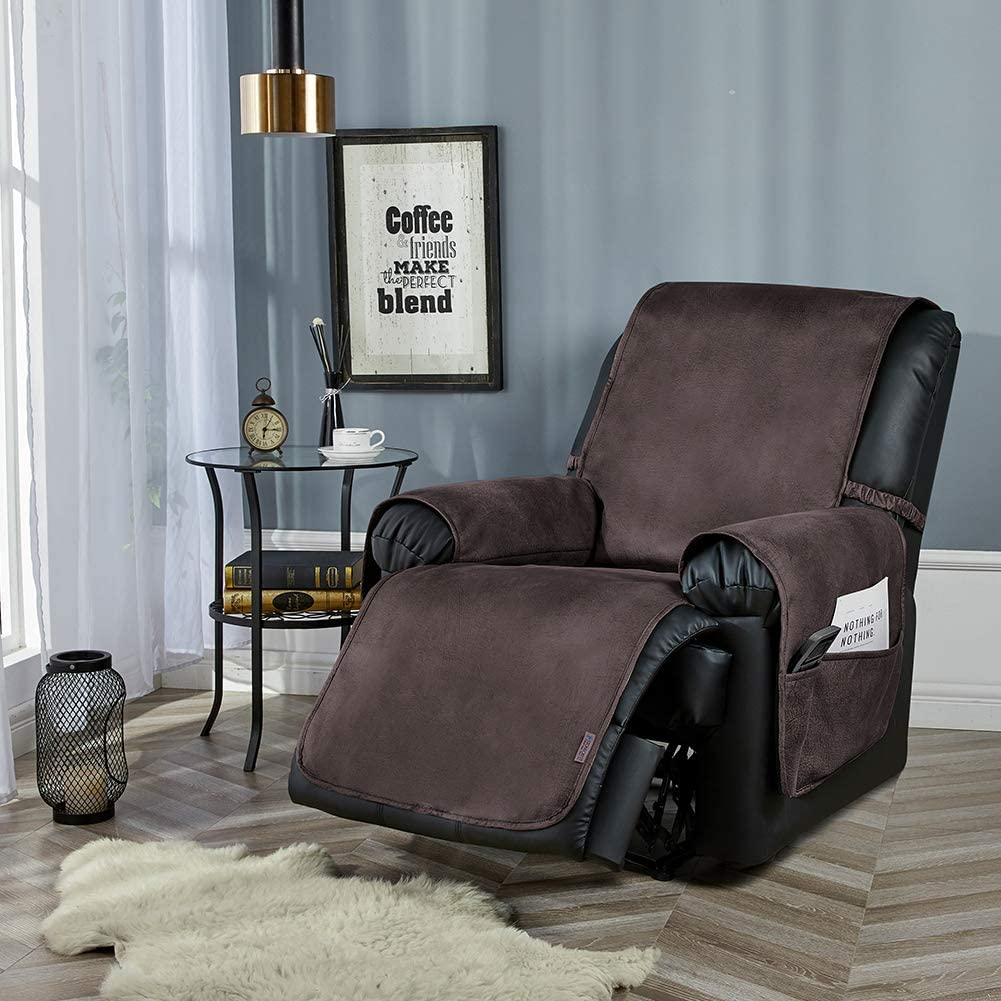 """STONECREST Classic Home Decor, Inc Recliner Protector with 4 Pockets and 4 Elastic Straps, Faux Leather Slipcover Water Resistant, Couch Covers Anti-Stain, Seat Width Up to 23"""" (Chocolate, Recliner)"""