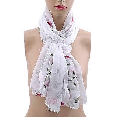 3ff20544e29 Winwinfly Longue écharpe pour femme Echarpes en soie synthétique avec  broderies douces Châle Vêtements Accessoire,