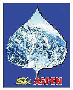 Aspen Leaf Ski Poster, 1960's Vintage Poster, Size 20 x 30 inches