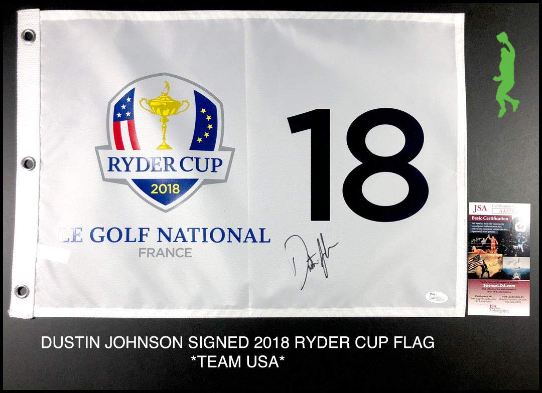 Dustin Johnson Autographed Signed 2018 Ryder Cup Pin Flag Team Usa Pga JSA Authentic