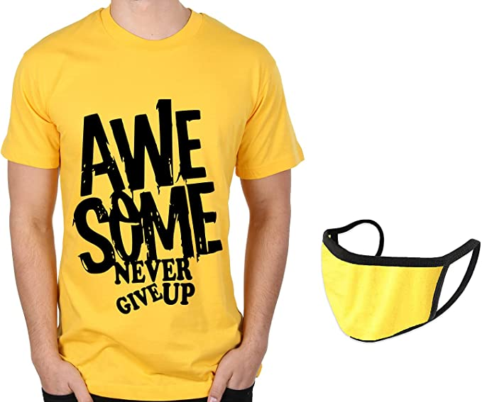 Caseria Men's Cotton Graphic Printed T-Shirt with mask - Awesome Never Give Up