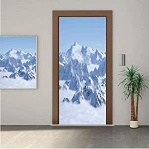 Farmhouse Decor ONE Piece Door Stickers,Snowy Summit of Alps over Clouds Scene at Winter Wilderness in Nature 28x80