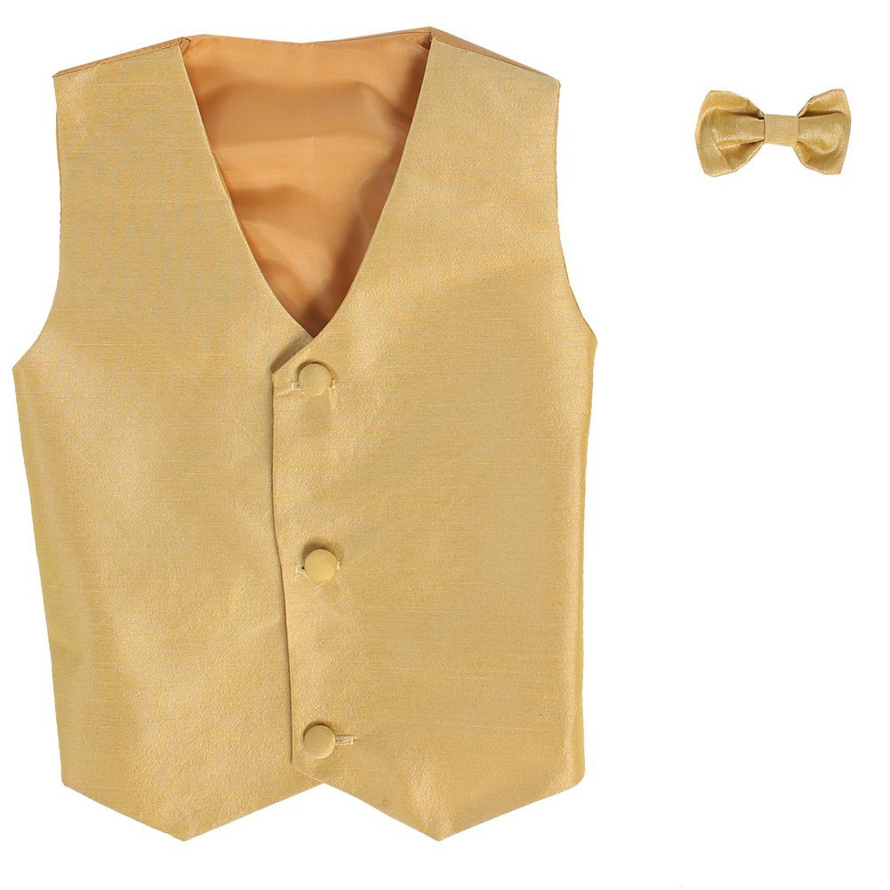 Lito Little Boys Gold Poly Silk Vest Bowtie Special Occasion Set 2T-7