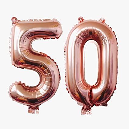 KEYYOOMY 40 Inch Number 50 Mylar Balloons Rose Gold 50th Jumbo Foil Balloon For