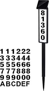 House Numbers Sign For Outside Solar Powered, Waterproof LED Address Sign, Solar Lighted Address plaques For House Modern Yard Street and Garden with Stake(Warm White/Cool White, Height 35 Inches)