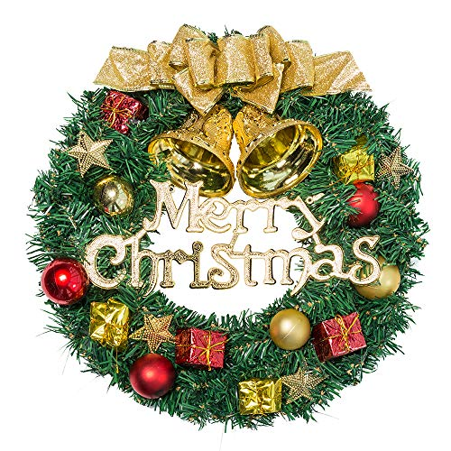 UDYR 14 Inch Pine Artificial Christmas Wreath, Garland with Bowknot, Bells, Deer, Red Berries, Flower Gifts for Christmas Party Decor, Front Door Wreath (Gold)