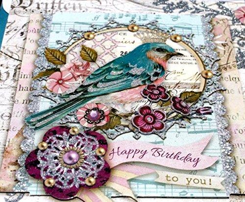 Punch Studio Single(1) 3D Die-Cut Glitter Gem Birthday Card + Envelope + Seal ~ Glitter Crown Bird ()