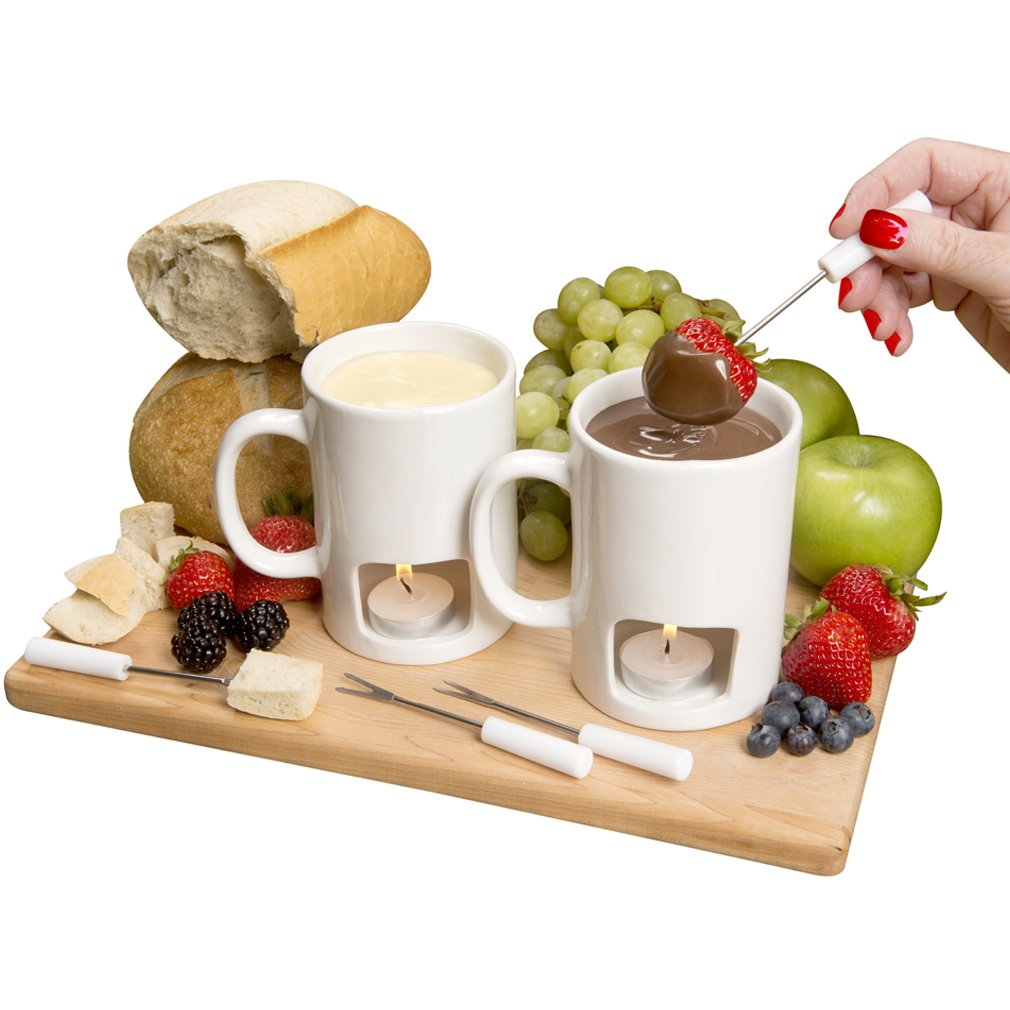 Evelots Set of 2 Personal Fondue Mugs with Votive Candles, White