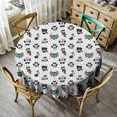 DONEECKL Antifouling Tablecloth Superhero Animal Owl Dear Fox Cat Penguin Raccoon Bear in Superhero Costumes Print Easy to Clean D35 White Seal -