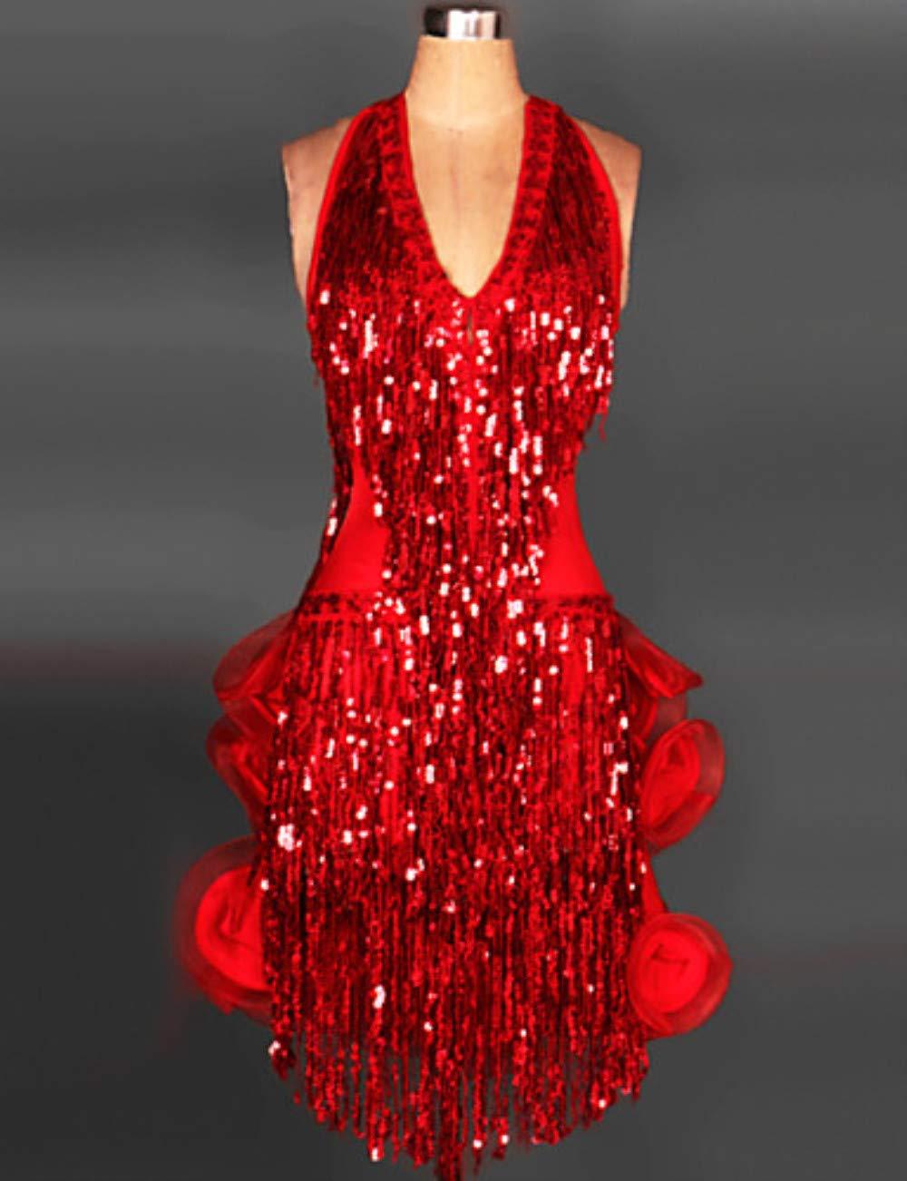 高価値 ラテンダンスドレス & スカート女性のトレーニングパフォーマンススパンデックススパンコールシャーリングタッセルノースリーブドレスサンバ B07P8KK9RP & Large Large|Red B07P8KK9RP Red Large, Retailer リテイラー:05b60c84 --- a0267596.xsph.ru