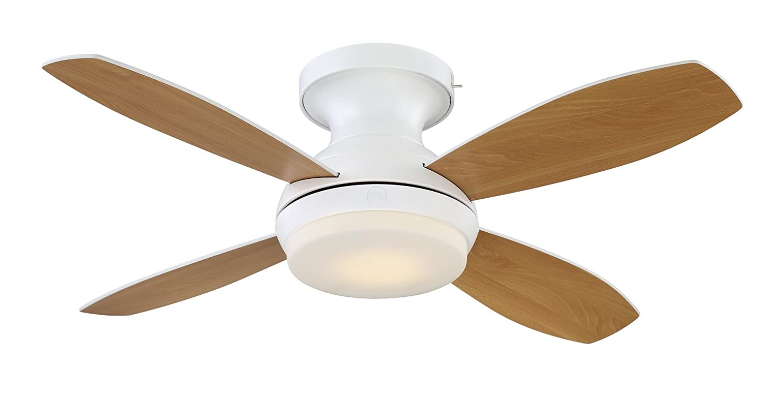 Ge Kinsey 44 White Led Indoor Ceiling Fan With Skyplug Technology Out How To Hide The Wires Between And Fixture Itself For Instant Plug Play Mounting