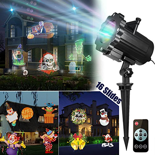 LED Light Project Outdoor Night Light - Coolmade Upgarded Version Bright Led Landscape Spotlight with 16 Slides Dynamic Lighting Landscape Show for Halloween, Party, Holiday Decoration