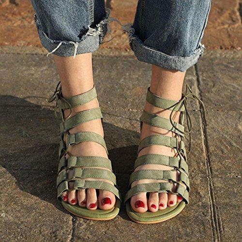 Cordones Cuero Bohemia de Zapatillas y C Bailarinas Toe Mujer Chanclas Zapatos Moda Sandalias Planas ASHOP Las de Gladiador Peep Verano De Playa Sandalias E186q