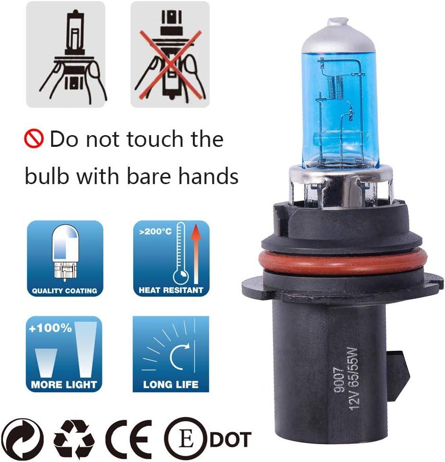 2 Pack,Long Life 9005 HB3 Halogen Headlight Bulb with Super White Light P20D 12V//60W 5000K