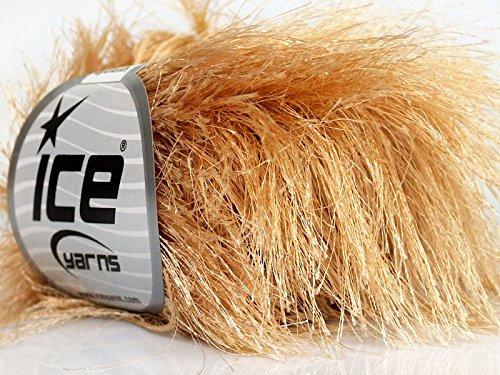 Latte Beige Extra Long Eyelash Yarn Ice Luxurious Fun Fur 50gr (Luxurious Eye)