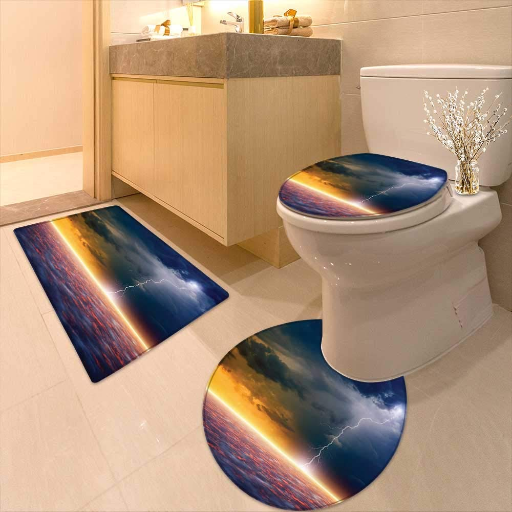 Printsonne 3 Piece Toilet mat Set Decor Apocalyptic Sky View End The World Majestic Mystic Sky Solar Flames 3 Piece Shower Mat Set