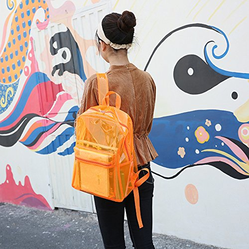 Pink Women Bags Backpack Waterproof Girl Fashion Storage School Transparent Orange School Beach Bag Zipper Bookbacks Jelly PVC Outdoor Clear Students U60BWAF0